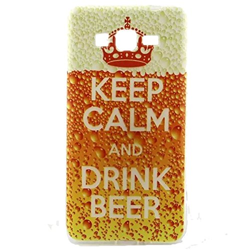 Gift_Source G530H G5308 case, Galaxy G530H G5308 case, Soft Gel TPU Silicone Shock Absorption Bumper Anti Scratch Precision Fit Thin Flexible Case for Samsung Galaxy Grand Prime G530H G5308 [ Keep Calm And drink beer ]