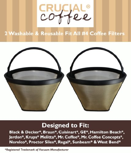2 Washable & Reusable Coffee Filters # 4 Cone Fit Black & Decker, Braun, Cuisinart, GE, Hamilton Beach, Jerdon, Krups, Melitta, Mr. Coffee, Mr. Coffee Concepts, Norelco, Proctor Silex, Regal, Sunbeam & West Bend; Designed & Engineered by Crucial Coffee