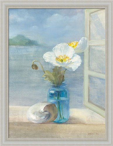Coastal Floral Ii By Danhui Nai Blue Bath Bathroom Wall Art Print Framed Décor front-302477