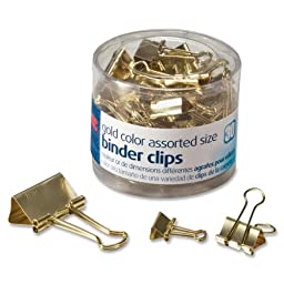OIC Assorted Size Binder Clips - 30 / Pack - Gold