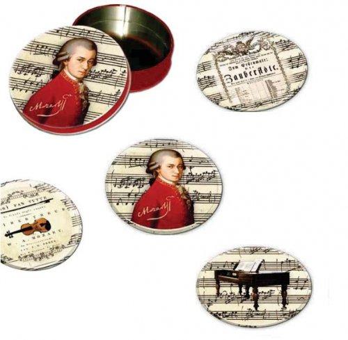 4 Untersetzer für Gläser, Design: Mozart - Metall / Kork