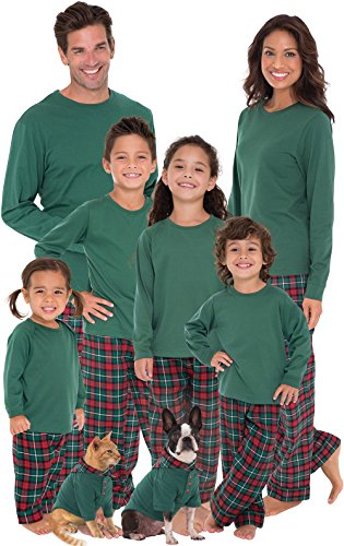 Red-Green-Plaid-Cotton-Flannel-Christmas-Pajamas-for-the-Whole-Family