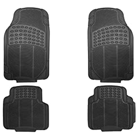 OxGordu00ae 4pc Full Set Ridged Heavy Duty Rubber Floor Mats, Universal Fit Mat for Car, SUV, Van & Trucks - Front & Rear, Driver & Passenger Seat (Black)
