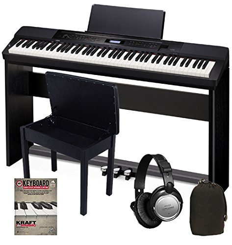 Casio PX-350 Black BUNDLE w/ Stand, Pedals & Bench