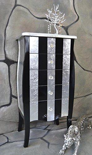 Kommode-mit-5-Schubladen-Pomp-Schwarz-Silber-Pop-barock-antik-Hhe-95-cm-LV2020