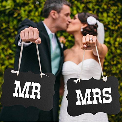 Mr and Mrs photo props, Mr and Mrs chair signs, wedding decorations, bride and groom signs, photo booth signs, unique wedding decor by UsaSales, US Seller