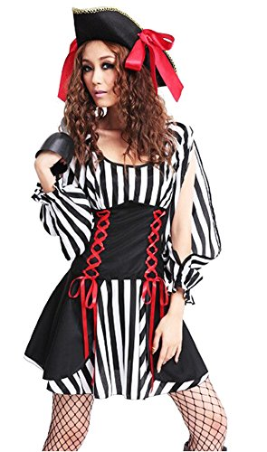 Dreamall Women's Halloween Pirate Sexy Slit Sleeve Fancy Costume