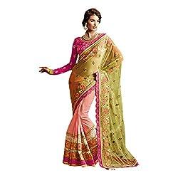 Designer Peach Green Soft Net Embroidered Saree