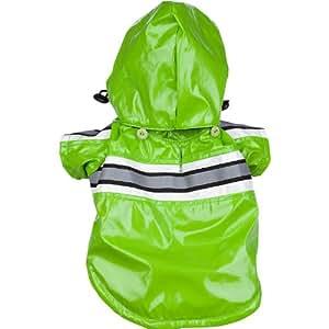Pet Life Reflecta-Glow PVC Raincoat in Green - Medium