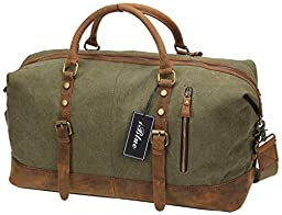 Iblue Large Duffle Luggage Bag Canvas Leather Gym Tote Bag Army Green 21.6 Inch #381 (XL, Army green)