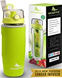 Infuser Water Bottle with Unique Full Length Infuser and Insulating Sleeve - Multiple Colors Options - Large 32 Oz Sport Water Bottle - Your Healthy Hydration Made Easy - Lemon Green