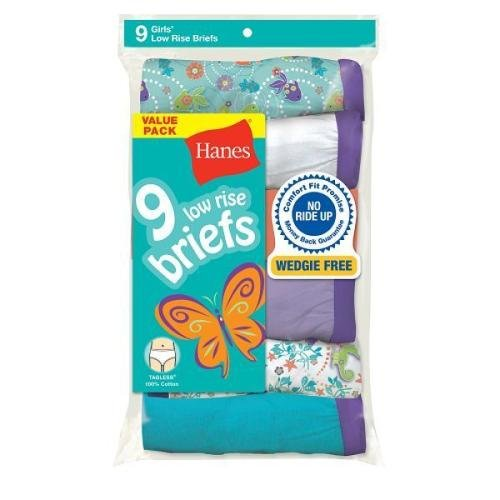 Hanes Girls Low-Rise Briefs (9-Pack)