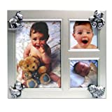 Table Top Matte Silver Collage Picture Frame with Ornaments