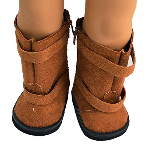 Ebuddy ® Brown Doll Shoes Boots Fits 18 Inch Girl Dolls