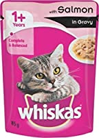 Whiskas Wet Meal Adult Cat Food, Salmon in Gravy, 85 g (Pack of 12)