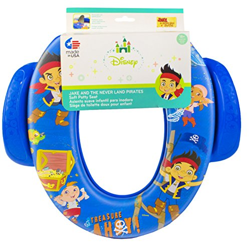 Disney Jake and the Never Land Pirates Potty Seat - Padded, Soft, and Durable - For Regular and Elongated Toilets - Removable Cushion for Easy Cleaning - Firm Grip Handles - Blue - 1