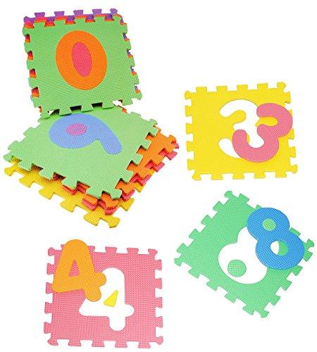 Set: Puzzle Teppich aus Mossgummi - 10 Matten & Zahlen von 0 - 9 - zum puzzeln / Puzzleteppich EVA - Spieleteppich Puzzlematte - Spielmatte Kinderteppich - Bodenmatte - Matte / Spielteppich - für Kinder - Puzzleteppich - Kinderspielteppich / Lernteppich - Schaumstoff / Bodenschutzmatte - Zahl Rechnen lernen