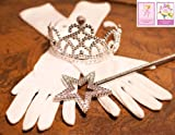 3 Piece Bundle: White Princess Gloves with Silver Tiara, Wand and Reusable Drawstring Bag