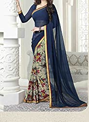 Women's Latest Designer Printed Georgette Saree with Blouse piece By Maahi Fashion (blue)