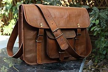 HLC Leather Unisex 100% Genuine Real Leather Messenger Bag for Laptop Briefcase Satchel