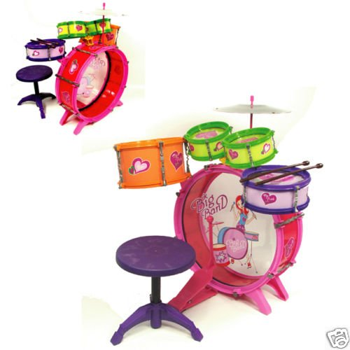 GIRLS KIDS DRUM SET KIT TOY CHILDREN MUSICAL INSTRUMENT
