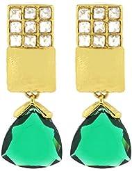 The Jewelbox Geometric Indo Western Green Kundan American Diamond Drop Earring For Women