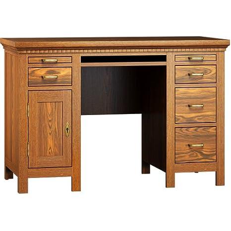 Schreibtisch 80/150/70 - Echtholz massiv Kiefer - klassisch & elegant - Weiß matt