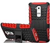 myLife Fire Engine Red + Denim Black {Textured with Stand Up Design} 2 Layer Neo Hybrid Case for the for the LG G2 Smartphone (External Rubberized Hard Safe Shell Piece + Internal Soft Silicone Flexible Bumper Gel)