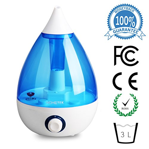 Ultrasonic Humidifier with 3 Liter Water Tank, Cool Mist Humidifier 360 Degree Rotatable Nozzle Blue - 1