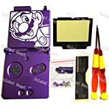 Oulekai Maoyi Mario Pattern Purple Color Housing Shell For Nintendo GBA Gameboy Advance SP Console With X/Y Screwdrivers