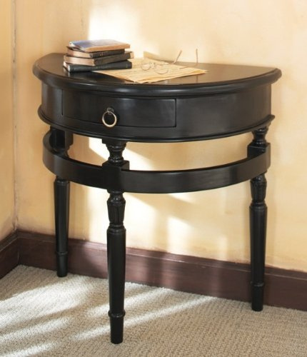 Cheap Half Moon Console Hall Table with 3 Legs in Black Finish (B001VMJIRC)