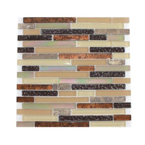 glass tile and stone copper strips mosaic backsplash best backsplash