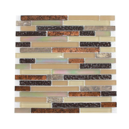 Glass Tile and Stone Copper Strips Mosaic Backsplash