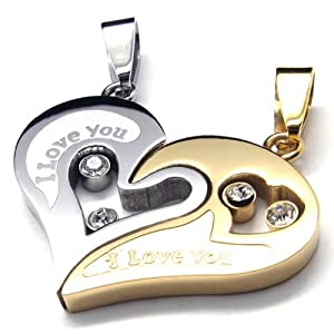 Konov Jewellery 2pcs Lovers Mens Womens Heart Stainless Steel Pendant Love Necklace Set, Couples Valentine's Gift for Him and Her, Colour Gold Silver, with 2pcs Chain 18 inch and 22 inch (with Gift Bag) by KONOV