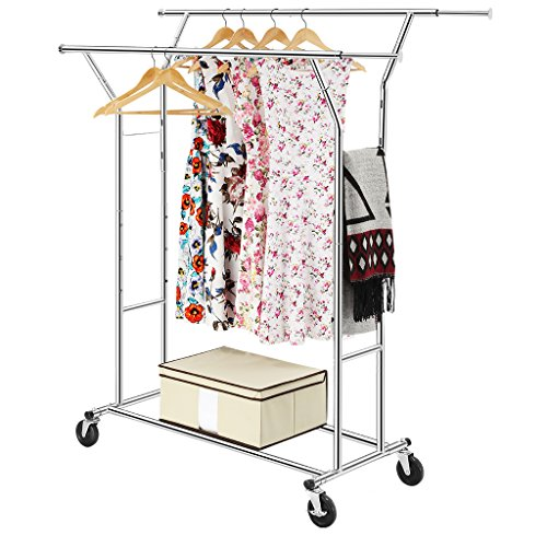 LANGRIA Double Rod Garment Rack with Adjustable Extendable Rail Heavy Duty Clothing Hanging Drying Metal Tubes Flexible Rolling Wheels for Easy Transport, Chrome Finish (Adjustable Double Garment Rack compare prices)