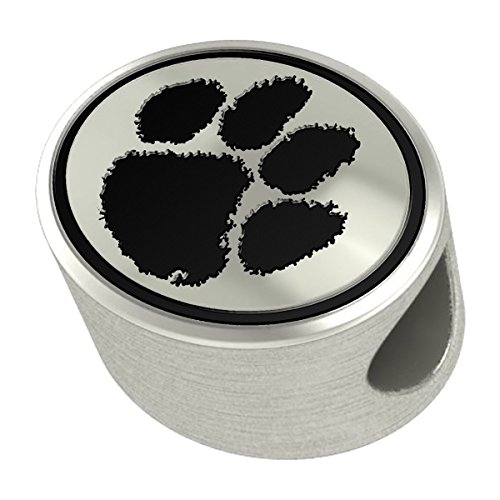 Clemson Tigers Silver Antiqued Bead Fits Most European Style Charm Bracelets
