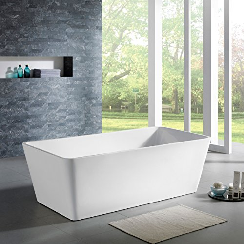 MAYKKE Norris 67 Inches Modern Rectangle Acrylic Bathtub Freestanding White Tub in Bathroom, 12-9/16 Inches Water Depth, 63 Gallons Water Capacity, XDA1403002 (Bathroom Tub Free Standing compare prices)