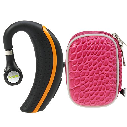 Ikross Black/ Orange Behind-The-Ear Wireless Bluetooth Handsfree Headset + Hot Pink Small Eva Headset Case For Motorola Moto E, Moto G, Moto X, Droid Mini/ Maxx/ Ultra