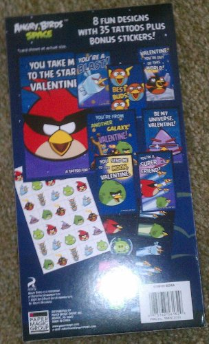 Angry Birds Space 32 Valentines Cards w/ 35 Tattoos Bonus Sticker Sheet - 1