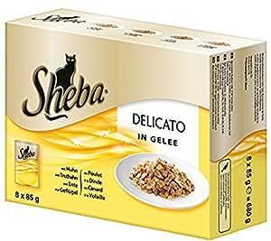 Sheba Delicato Katzenfutter Gelee Variation, 48 Beutel (48 x 85 g)