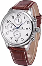 KS Automatic Mechanical Waterproof Date Day Month Display Mens Brown Leather Strap Watch KS154