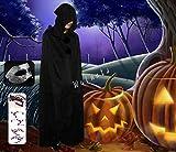 【ELEEJE】 今年の ハロウィン は これで 決まり ! コスプレ 衣装 レディース メンズ 魔女 や 死神 などの 仮装 に最適な ロング ブラック マント【 フード付き 】 (黒色), Lサイズ , 仮面 , アイシール の セット )