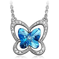 LadyColour Ocean Blue Butterfly Pendant Necklace Made With Swarovski Crystals,Animal Jewelry For Girls Women,Christmas gifts,Birthday gifts,Anniversary gifts for daughter,girlfriend,wife,sister,niece