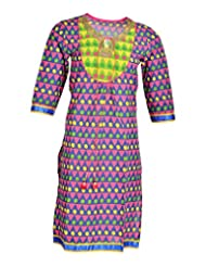 Global Women's Cotton Straight Kurta (GW21REDXL015, Red, XL)