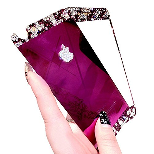Purple iPhone 6 Plus /6S Plus (5.5 Inch) Tempered Glass Screen Protector, Fuzzy Green Limited® Mirror Effect with Diamond Tempered Glass Front & Back Film Decal Skin Sticker