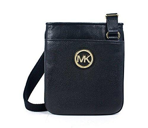 Michael Kors Fulton Crossbody Black Leather Gold Mk Logo Messenger Bag(38S1Cftc1L) front-623645