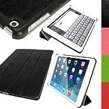 igadgitz Schwarz PU Ledertasche Hülle Smart Cover für Apple iPad Air 2013 Mit Multi-Winkel Betrachtungs-stand + Auto Sleep/Wake + Displayschutzfolie