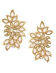 The Jewelbox Women's American Diamond Kundan Look Wild Leaf Antique Gold Plated Earring