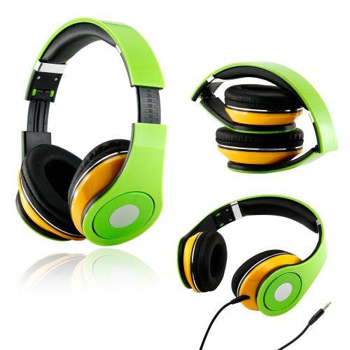 Gearonic Tm Adjustable Circumaural Over-Ear Earphone Stero Headphone 3.5Mm For Ipod Mp3 Mp4 Pc Iphone Music - Green And Yellow