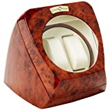 Diplomat Burl Wood Double Watch Winder with Leather Interior and Multi-Setting Smart IC Timer ~ Diplomat
